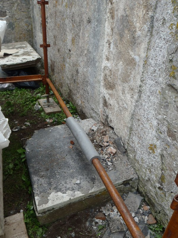 Archaeological works, Stone 1, plinth following removal of stone, St Columba's Chapel, Aiginis, Isle of Lewis