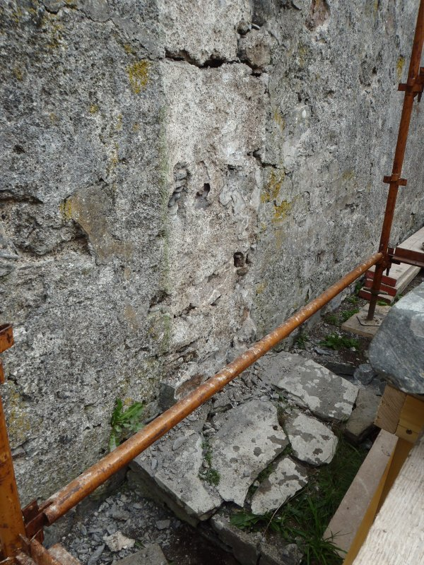 Archaeological works, Stone 2, plinth following removal of stone, St Columba's Chapel, Aiginis, Isle of Lewis