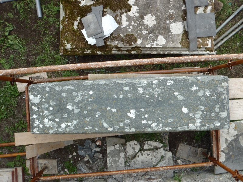 Archaeological works, Stone 2 following removal, St Columba's Chapel, Aiginis, Isle of Lewis
