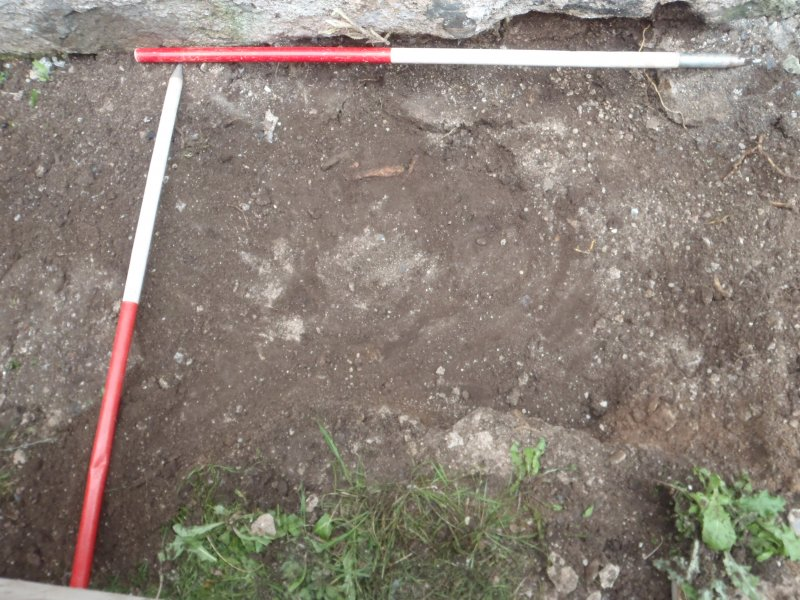 Archaeological works, Stone 1, depression left after removal of plinth, St Columba's Chapel, Aiginis, Isle of Lewis