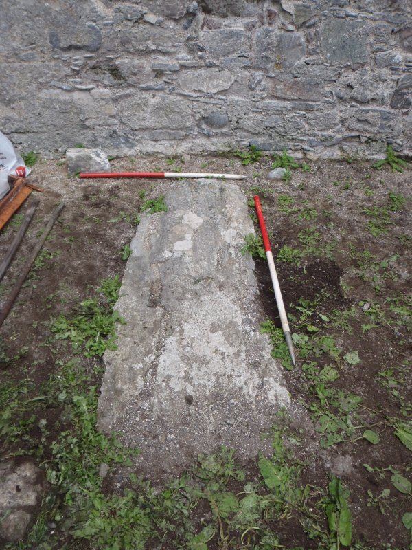 Archaeological works, Stone 4 prior to removal, St Columba's Chapel, Aiginis, Isle of Lewis