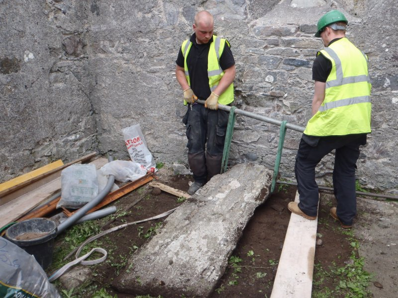 Archaeological works, Stone 4 during lifting, St Columba's Chapel, Aiginis, Isle of Lewis