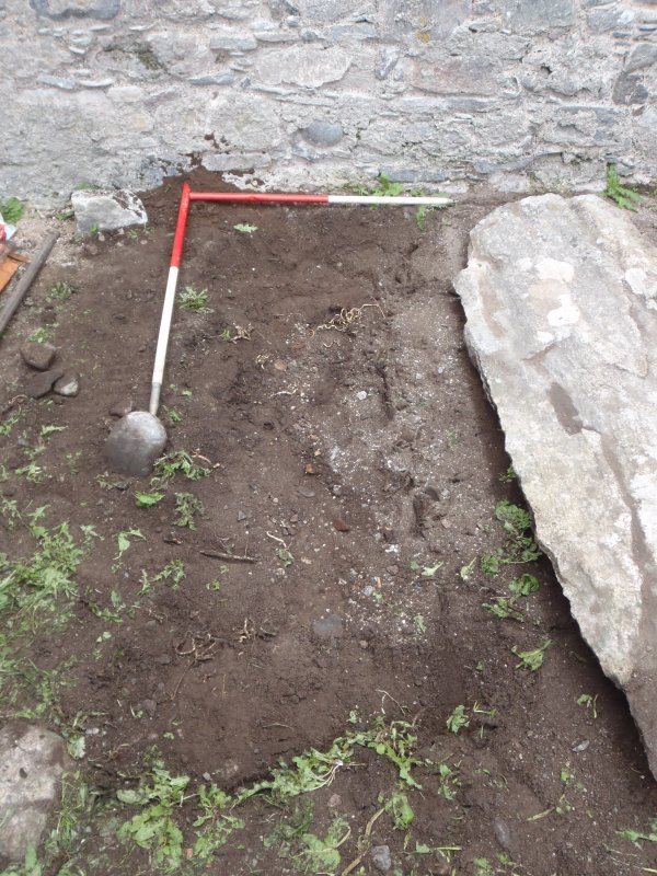 Archaeological works, Stone 4, area of disturbance following lifting, St Columba's Chapel, Aiginis, Isle of Lewis