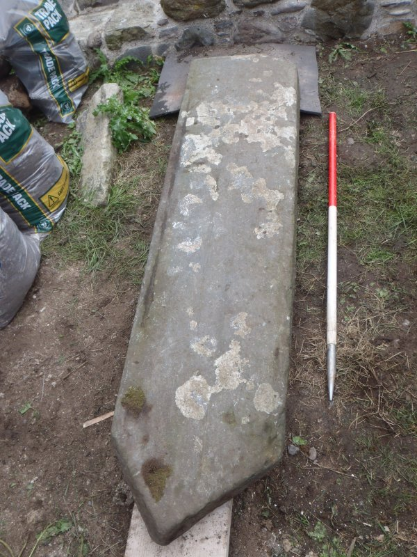 Archaeological works, Stone 3 following lifting, St Columba's Chapel, Aiginis, Isle of Lewis