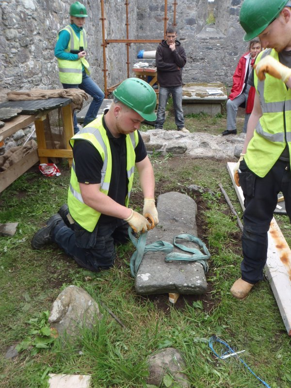 Archaeological works, Stone 5 under preparation for lifting, St Columba's Chapel, Aiginis, Isle of Lewis