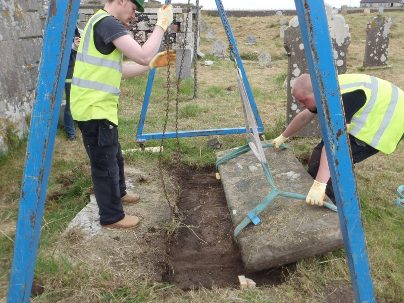 Archaeological works, Stone 8 during lifting, St Columba's Chapel, Aiginis, Isle of Lewis