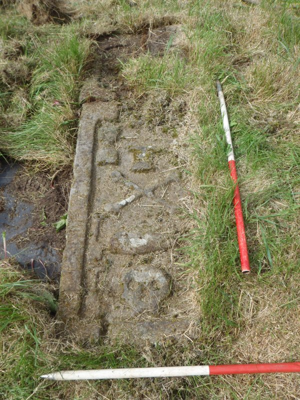 Archaeological works, Stone 7 prior to lifting, St Columba's Chapel, Aiginis, Isle of Lewis