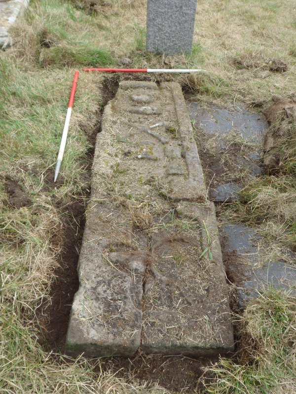 Archaeological works, Stone 7 with slot excavated around circumference prior to lifting, St Columba's Chapel, Aiginis, Isle of Lewis