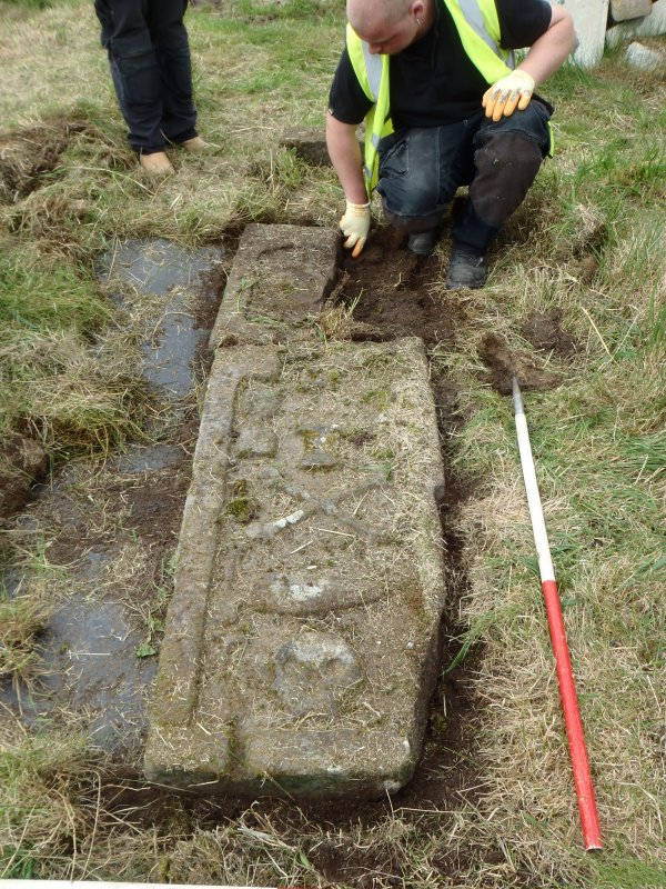 Archaeological works, Stone 7 being prepared for lifting, St Columba's Chapel, Aiginis, Isle of Lewis
