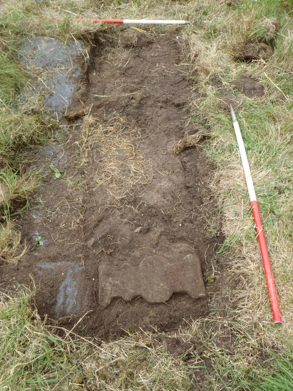 Archaeological works, Stone 7, area of disturbance following lifting, St Columba's Chapel, Aiginis, Isle of Lewis