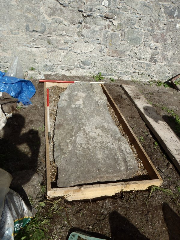 Archaeological works, Stone 4 following reinstatement, St Columba's Chapel, Aiginis, Isle of Lewis