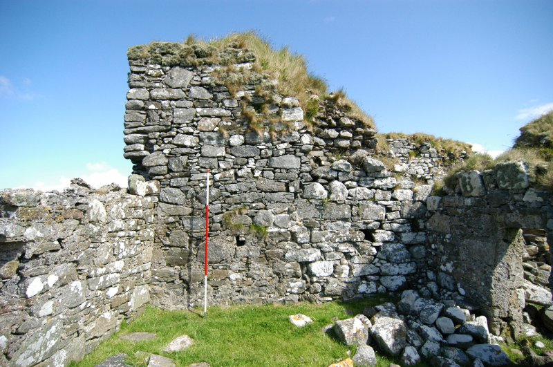 Historic building survey, Enclosure wall, E-facing elevation, Teampull na Trionaid, Cairinis, North Uist, Western Isles
