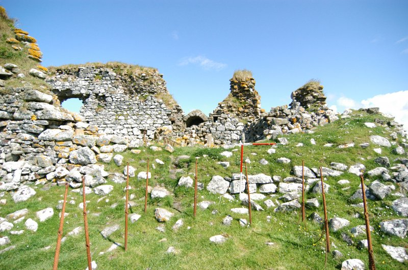 Historic building survey, Church, S-facing elevation, Teampull na Trionaid, Cairinis, North Uist, Western Isles