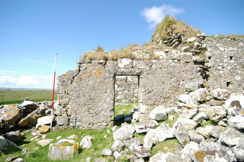 Historic building survey, Enclosure doorway, E-facing elevation, Teampull na Trionaid, Cairinis, North Uist, Western Isles