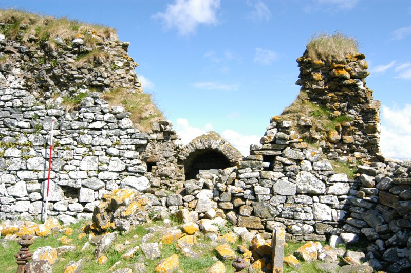 Historic building survey, Church interior, consecutive shots, S-facing elevation, Teampull na Trionaid, Cairinis, North Uist, Western Isles