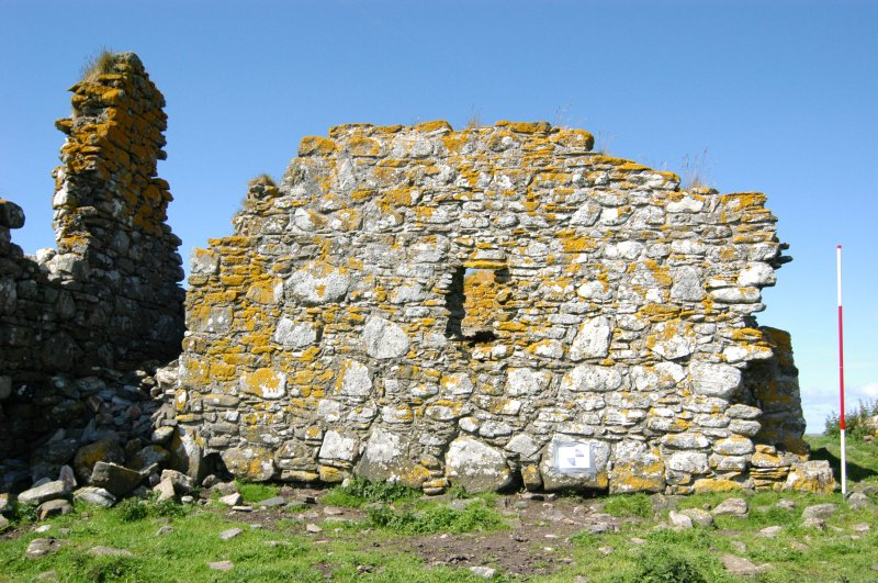 Historic building survey, McVicar Chapel, exterior, E-facing gable, Teampull na Trionaid, Cairinis, North Uist, Western Isles