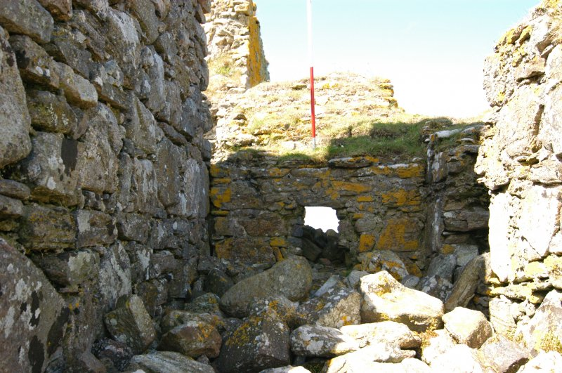Historic building survey, Interior E-facing wall of the McVicar passage, Teampull na Trionaid, Cairinis, North Uist, Western Isles