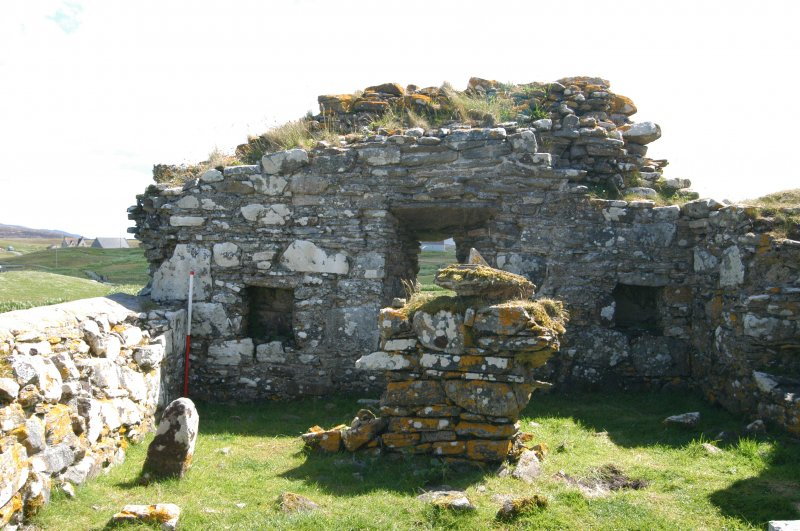 Historic building survey, McVicar Chapel, interior, W-facing gable, Teampull na Trionaid, Cairinis, North Uist, Western Isles
