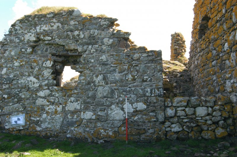 Historic building survey, McVicar Chapel, exterior, W-facing gable wall, Teampull na Trionaid, Cairinis, North Uist, Western Isles