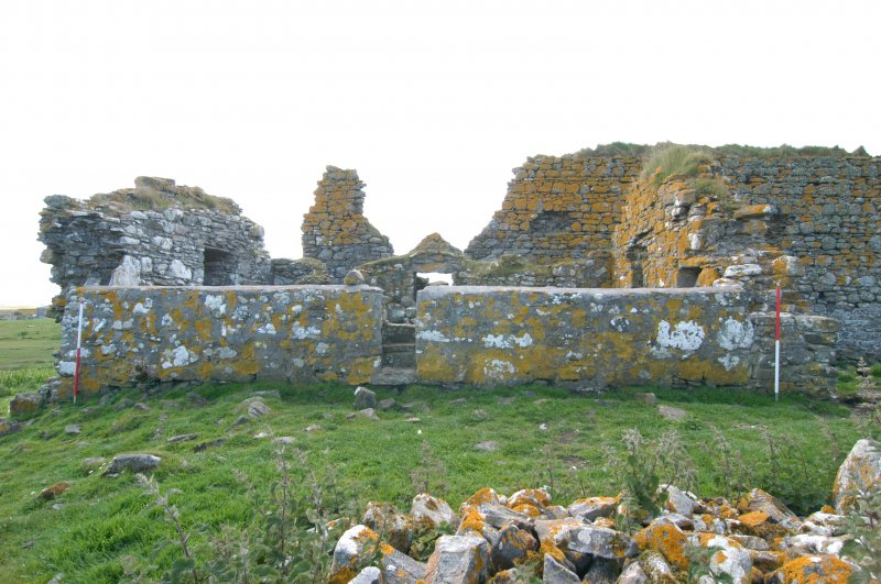 Historic building survey, McVicar Chapel, exterior, N-facing elevation, Teampull na Trionaid, Cairinis, North Uist, Western Isles
