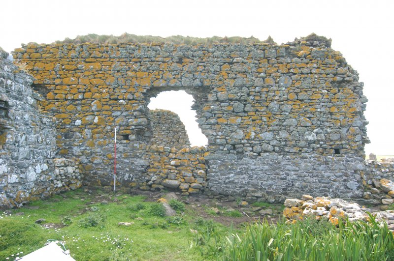 Historic building survey, Church, exterior, N-facing elevation, general shots, Teampull na Trionaid, Cairinis, North Uist, Western Isles