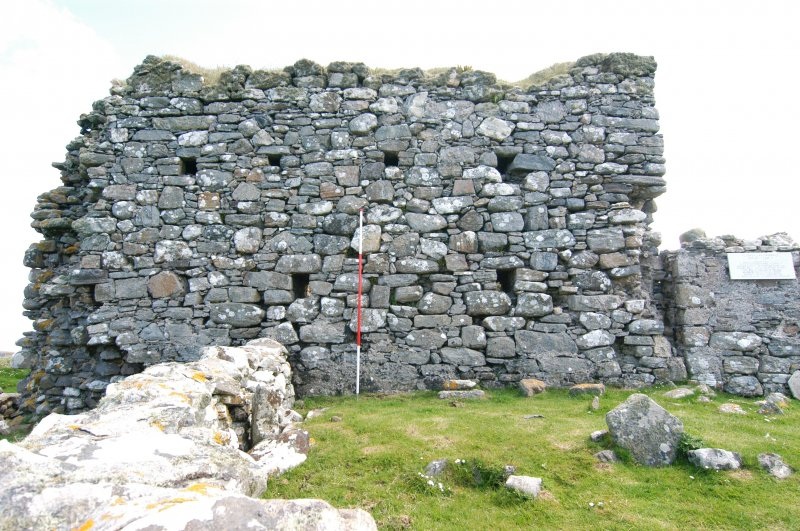 Historic building survey, Church, exterior, W-facing elevation, consecutive shots and graveyard wall, Teampull na Trionaid, Cairinis, North Uist, Western Isles