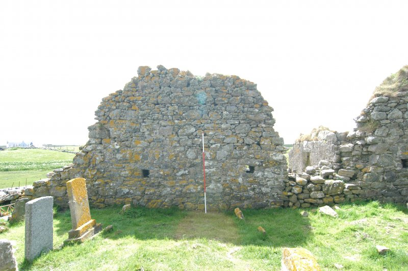Historic building survey, Church, interior, N-facing elevation, consecutive shots, Teampull na Trionaid, Cairinis, North Uist, Western Isles