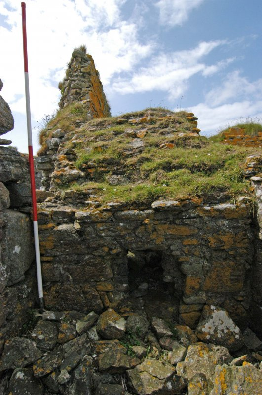 Historic building survey, Passage wall, with window opening, E-facing elevation, Teampull na Trionaid, Cairinis, North Uist, Western Isles