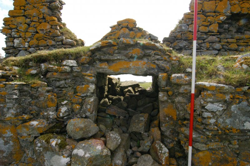 Historic building survey, McVicar interior N-facing elevation, passage opening, Teampull na Trionaid, Cairinis, North Uist, Western Isles