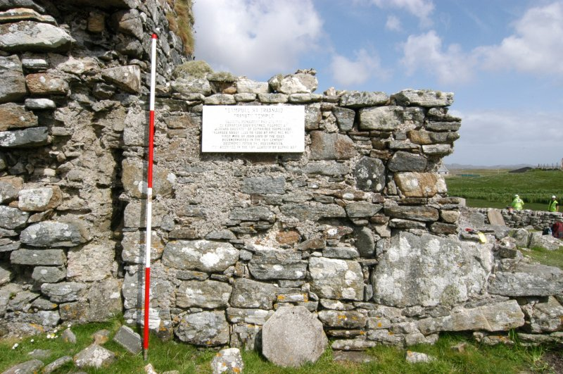 Historic building survey, Church, external, W-facing elevation, Teampull na Trionaid, Cairinis, North Uist, Western Isles