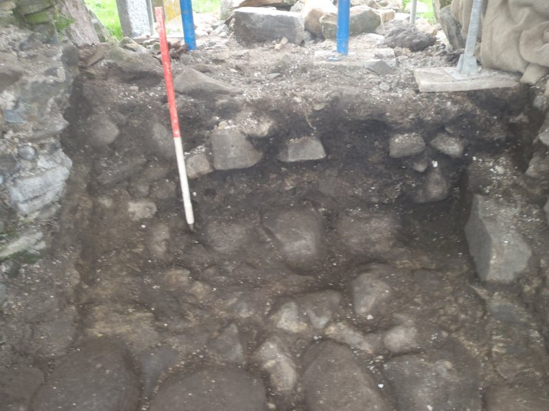 Excavation, Trench 1, post-excavation, Teampull na Trionaid, Cairinis, North Uist, Western Isles