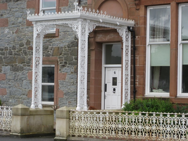 Detail of wrought-iron portico at 1-5 Marine Court, Argyle Street, Rothesay, Bute.