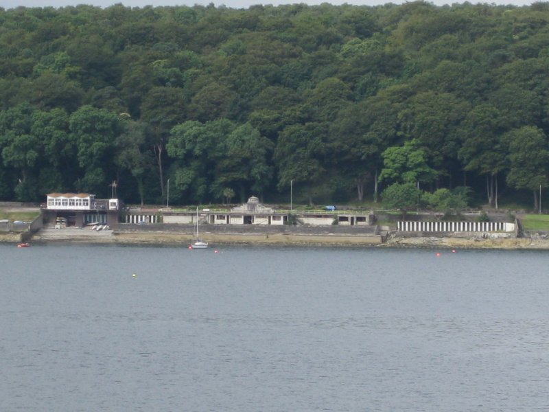 View from east showing Bathing Place and Royal Aquatic Clubhouse, Skeoch Wood, Rothesay, Bute.