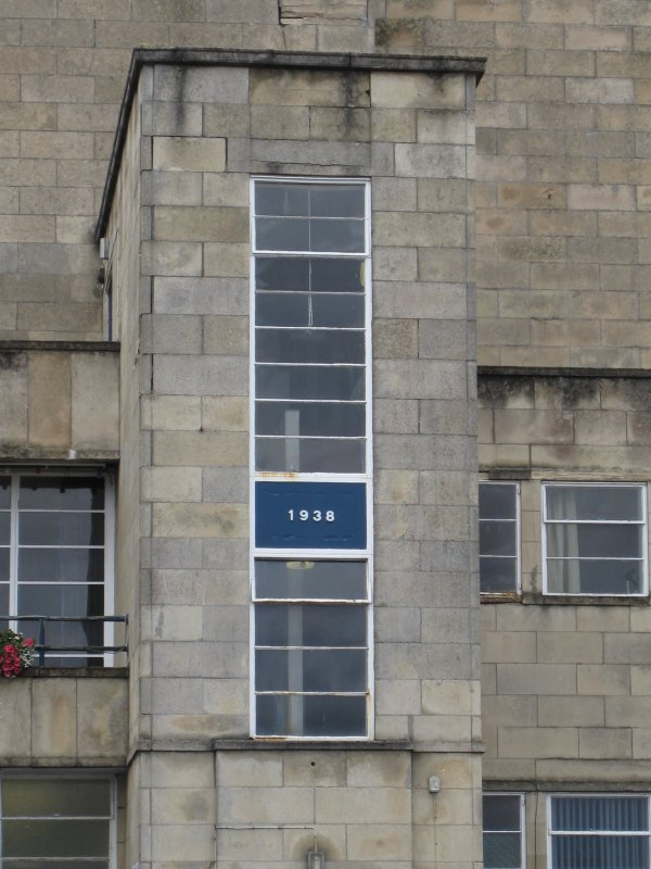 Detail of '1938' date plaque on Rothesay Pavilion, Argyle Street, Rothesay, Bute.