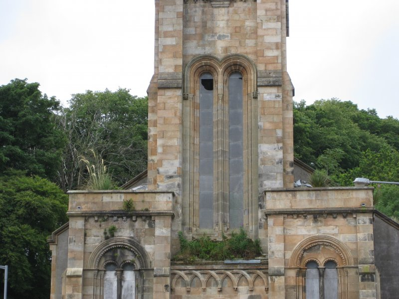 Detail of north-east elevation of West Free Church, Argyle Street, Rothesay, Bute.