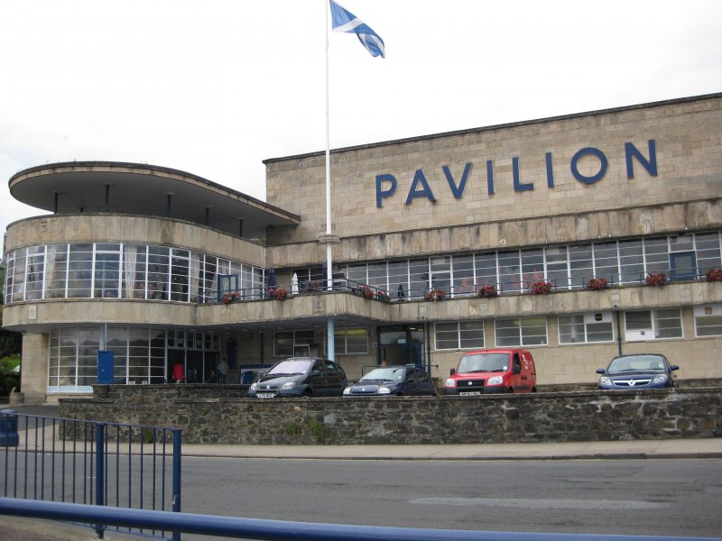 View from north-east showing Rothesay Pavilion, Argyle Street, Rothesay, Bute.