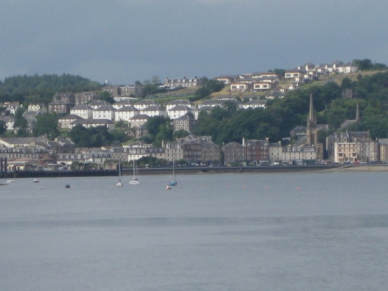Distant view from east showing West Bay and Ballochgoy areas of Rothesay, Bute.