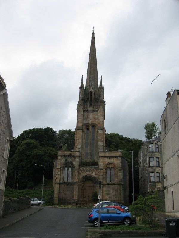 View from north-east showing main elevation of West Free Church, Argyle Street, Rothesay, Bute.