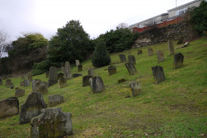 View from south-west showing Churchyard, Church Wynd, Bo'ness.