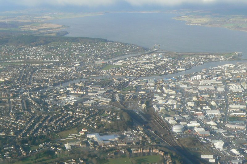 Aerial view of Inverness, looking W.