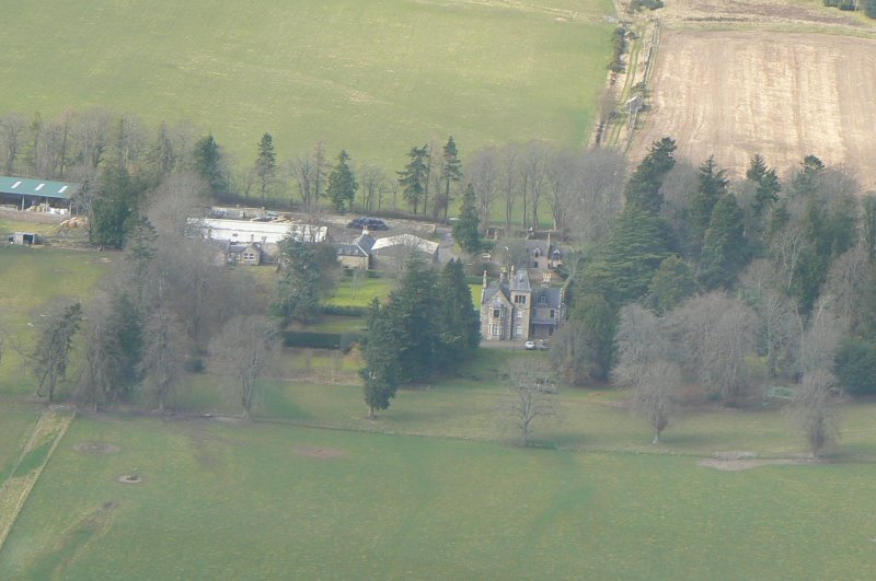 Aerial view of Lemlair house, near Dingwall, Easter Ross, looking N.