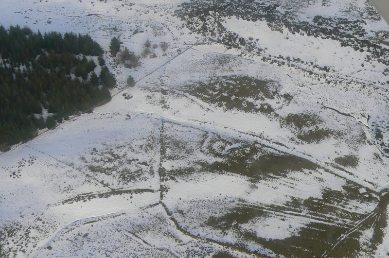 Aerial view of Heights of Brae hut circle and rig cultivation, near Dingwall, Easter Ross, looking NNE.