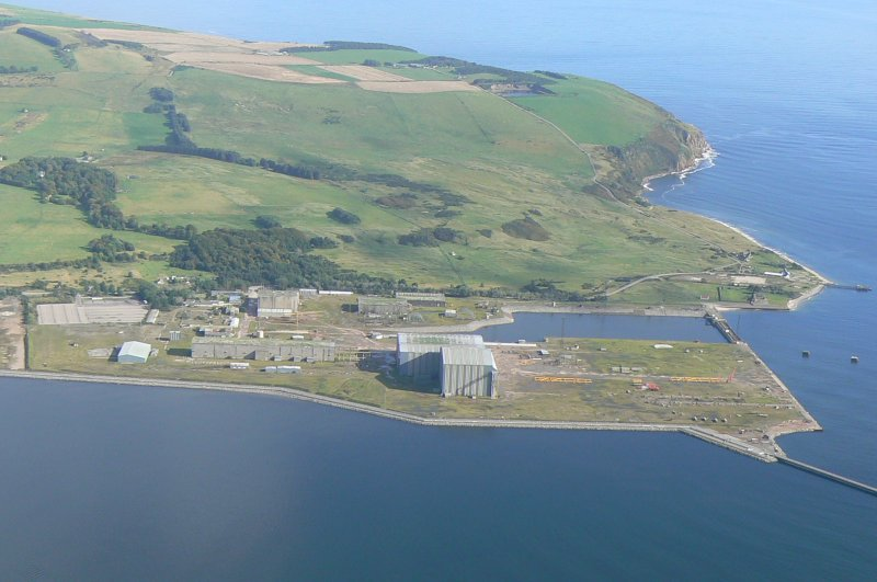 Aerial view of Nigg Fabrication Yard, Tarbat peninsula, looking E.