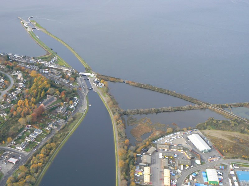Aerial view of Muirtown Basin and Sea Lock of the Caledonian Canal, Inverness, looking NNW.