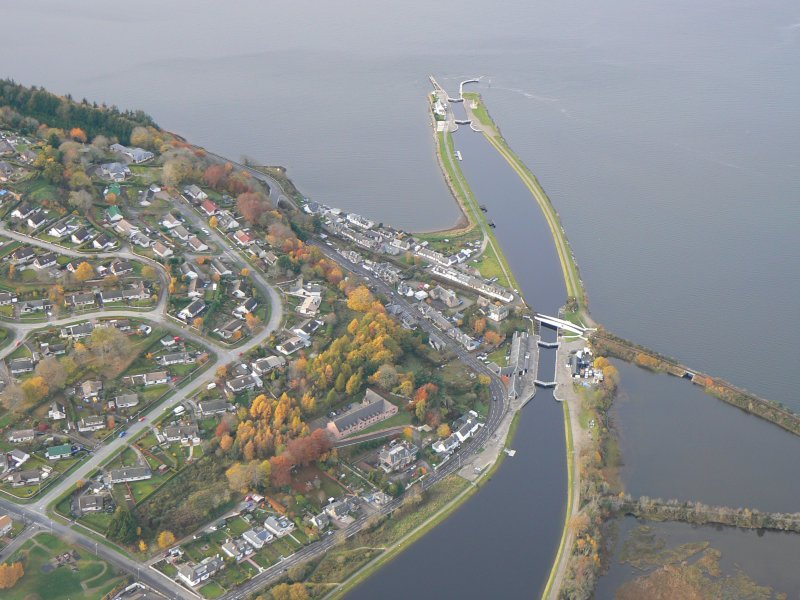 Oblique aerial sea lock of the Caledonian Canal, Inverness, looking NW.