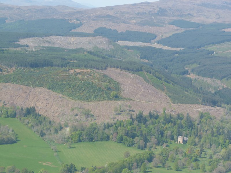 Aerial view of Castle Leod and forests near Strathpeffer, Easter Ross, looking NW.
