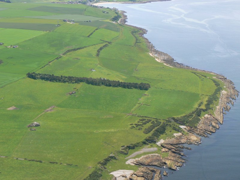 Aerial view of N side of Tarbat Ness near Castlehaven and towards Portmahomack, Easter Ross, looking SW.