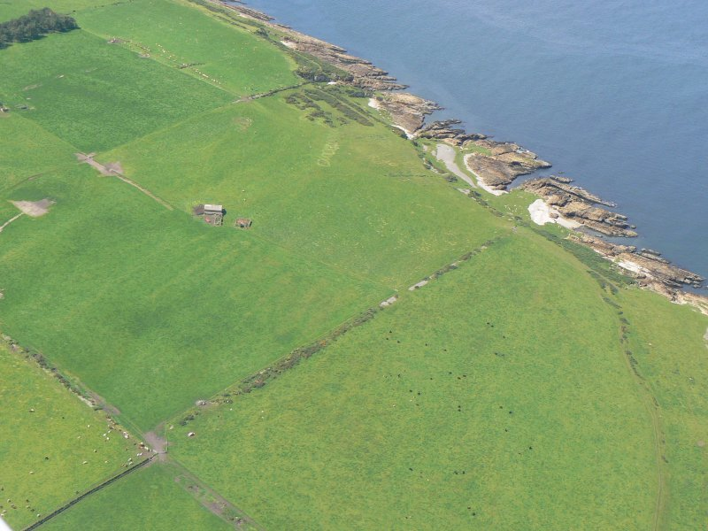 Aerial view of Castlehaven, N side of Tarbat Ness, Easter Ross, looking W.