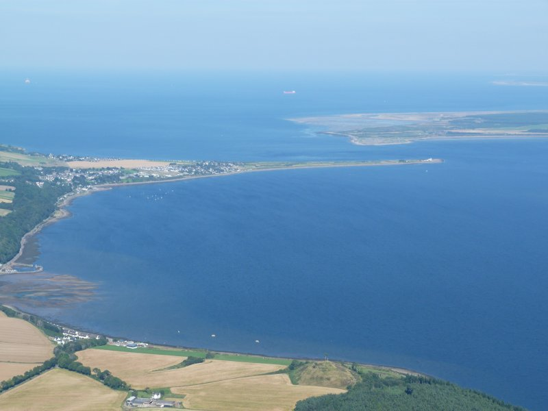 Aerial view of Fortrose Bay and Chanonry Ness, looking E.