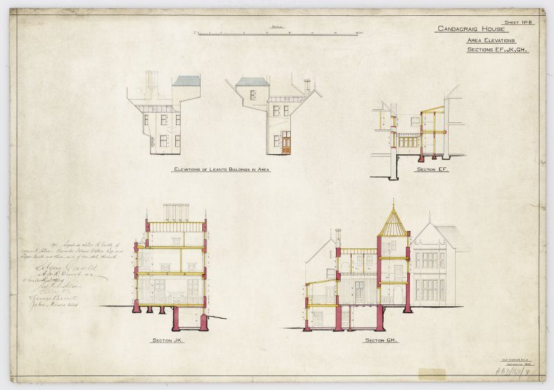 Sections and elevation of lean-to.